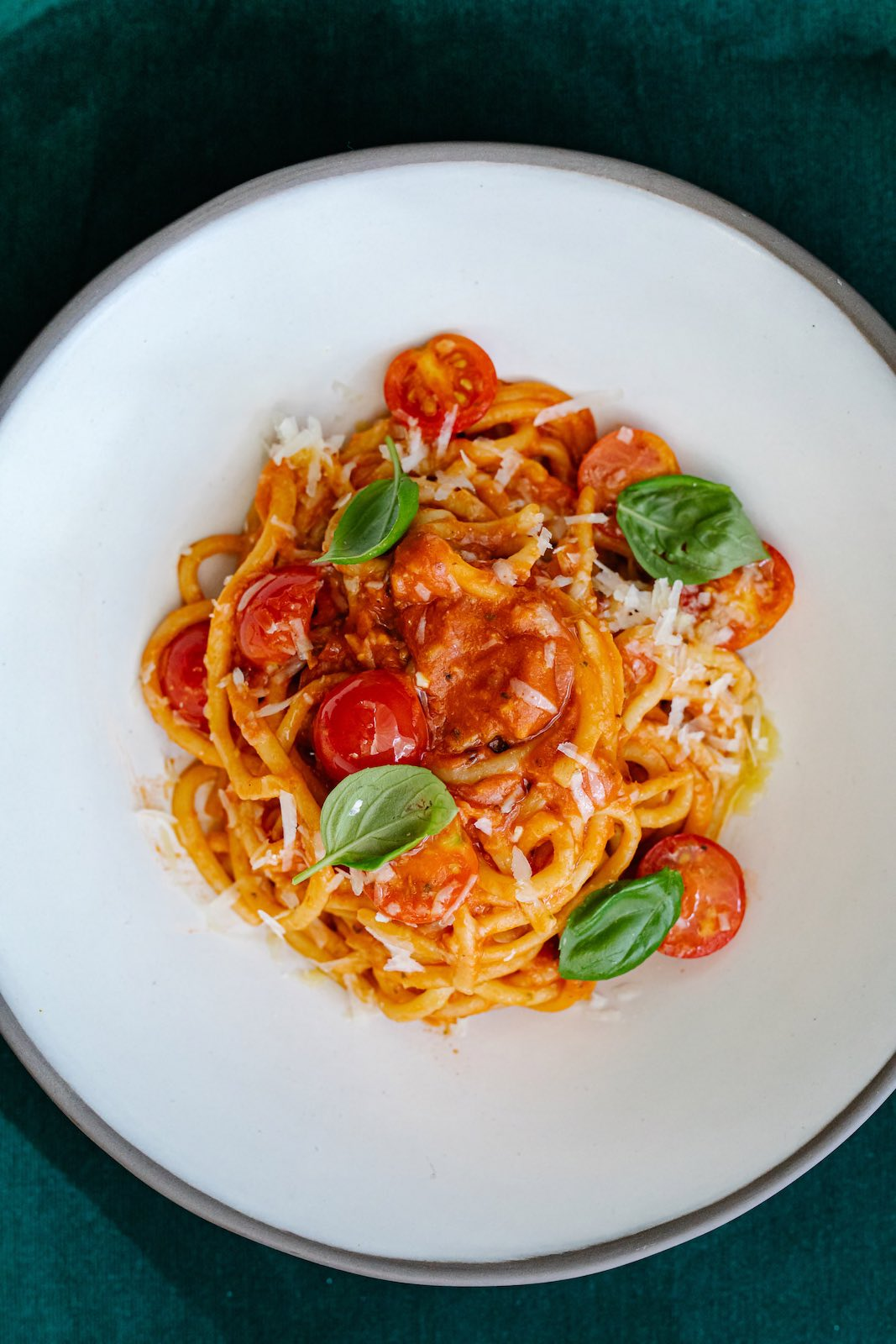 Calabrian chile adds a zip to the bucatini alla Amatriciani at Osteria Georgi