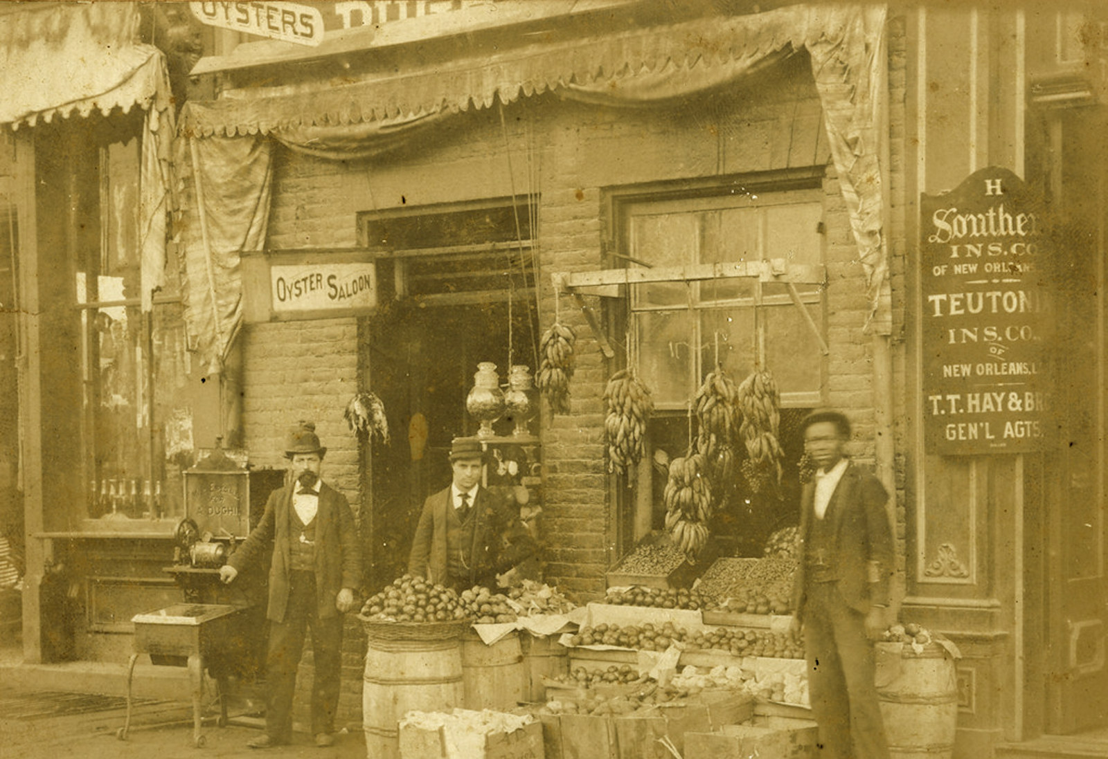 Like many 19th century groceries, the Dughi Store at 235 Fayetteville Street in Raleigh featured an oyster saloon