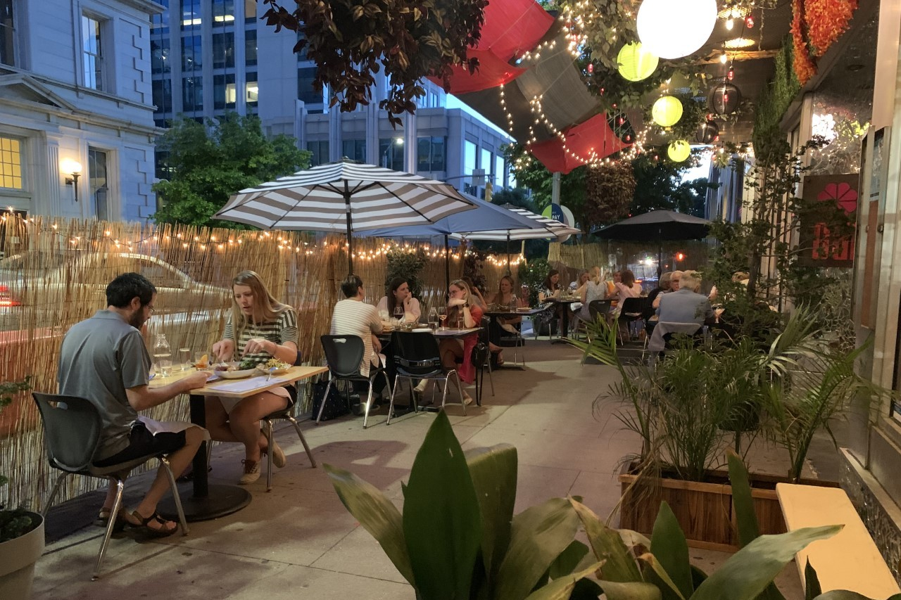 At Garland in Raleigh, Cheetie Kumar and Paul Siler transformed the front sidewalk into an outdoor dining area
