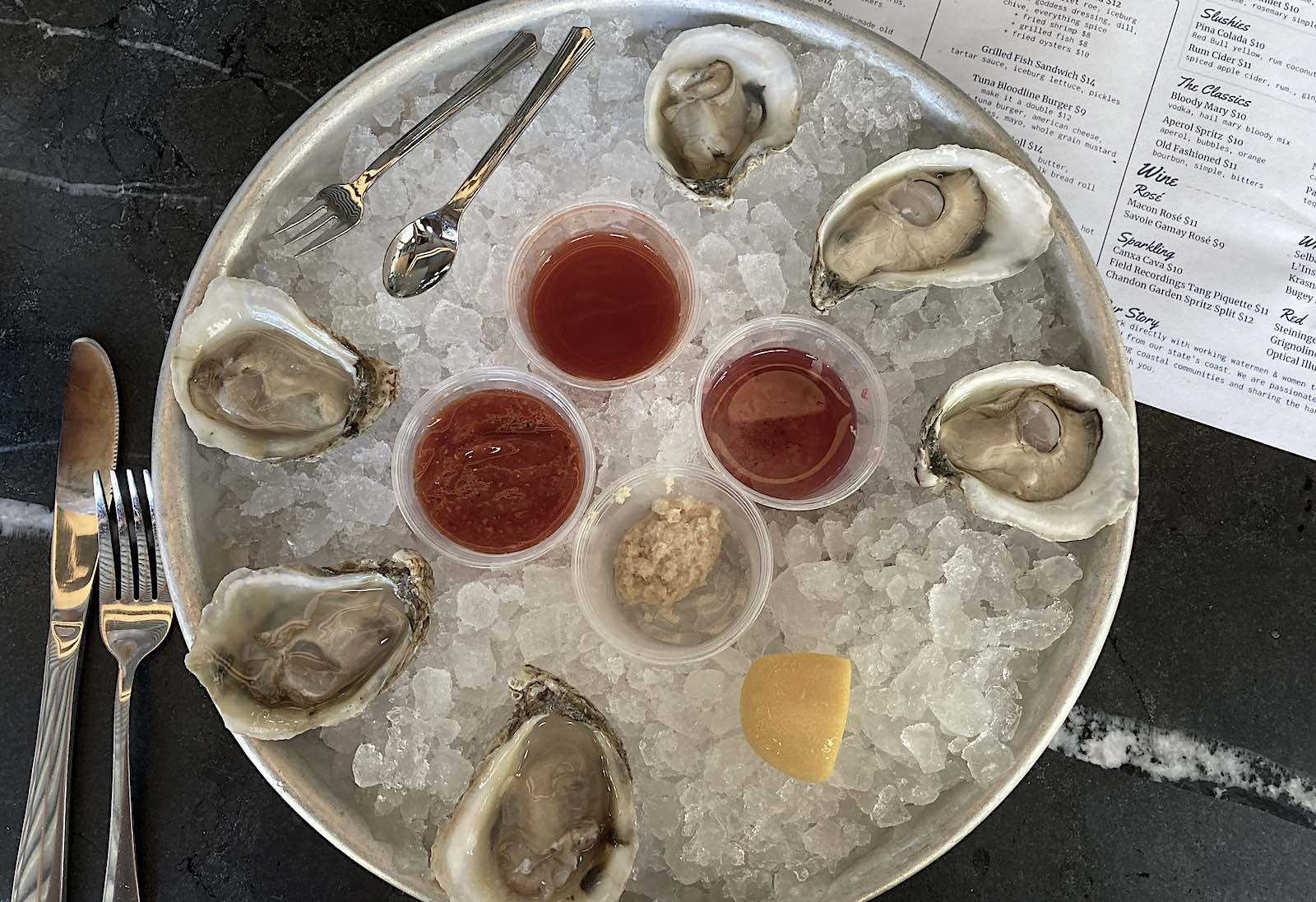 A tray of fresh-shucked North Carolina oysters from Locals in Raleigh's Transfer Co. Food Hall
