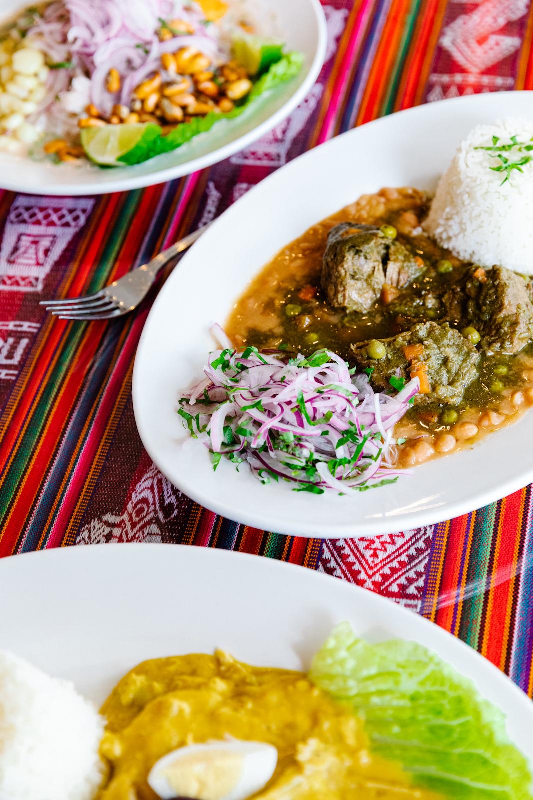Ceviche de pescado, seco des res, and aji de gallina (top to bottom) at Mi Peru in Durham